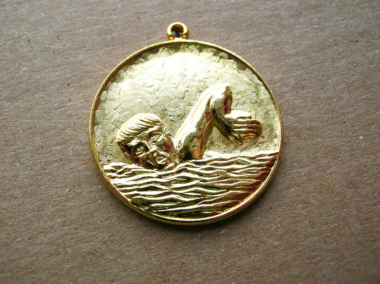 Vintage Swimming Medals Vintage Sport Medals 28mm Pendant