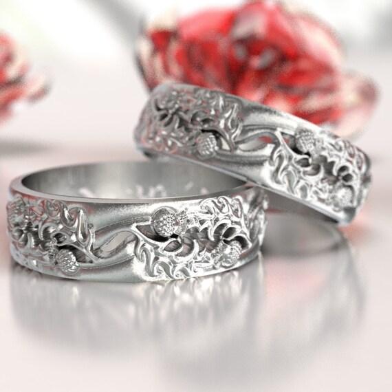 Thistle Wedding Band Set 925 Sterling Silver Scottish Ring