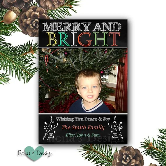 Chalkboard Holiday Photo Card Christmas Cards Merry