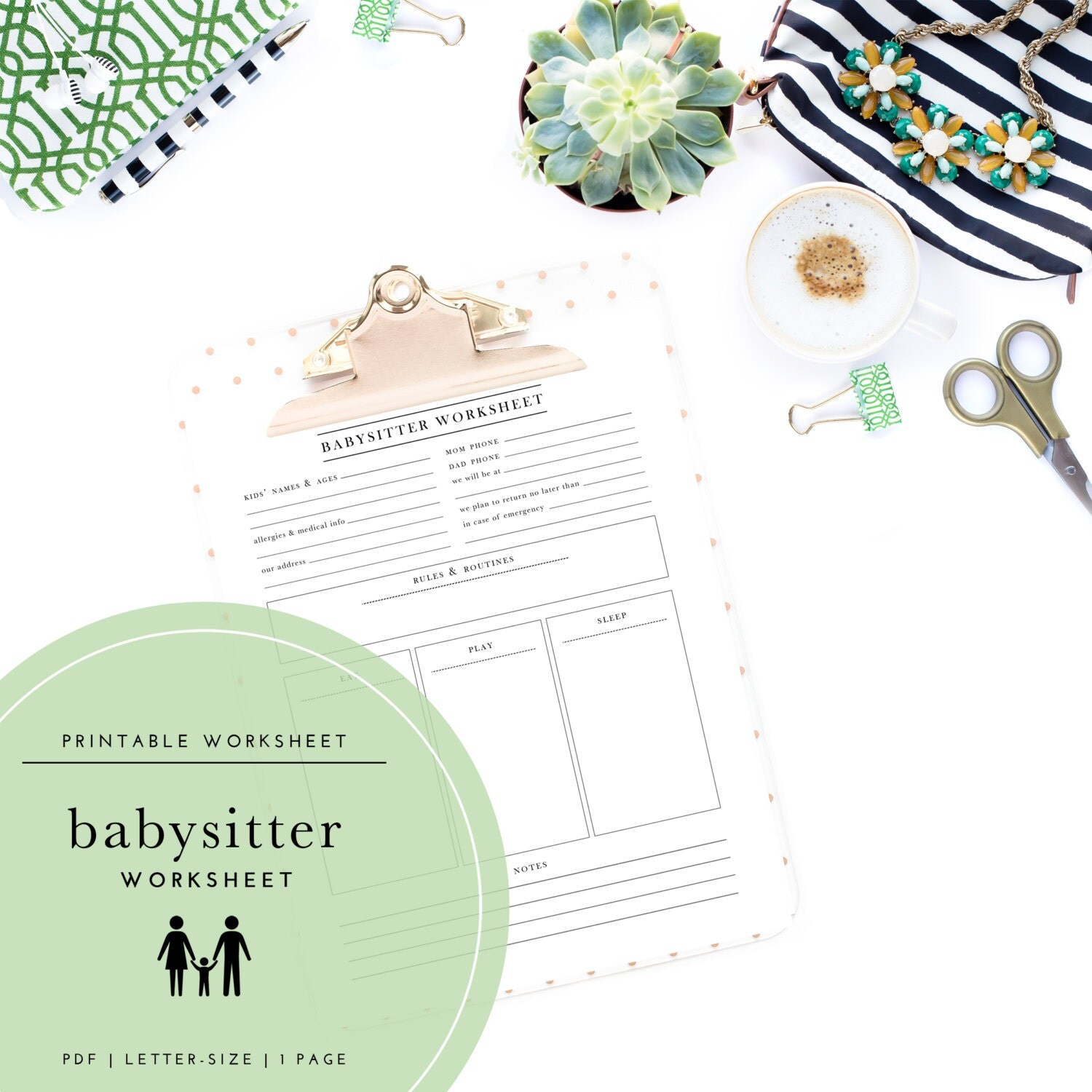 Printable Babysitter Nanny Child Care Worksheet