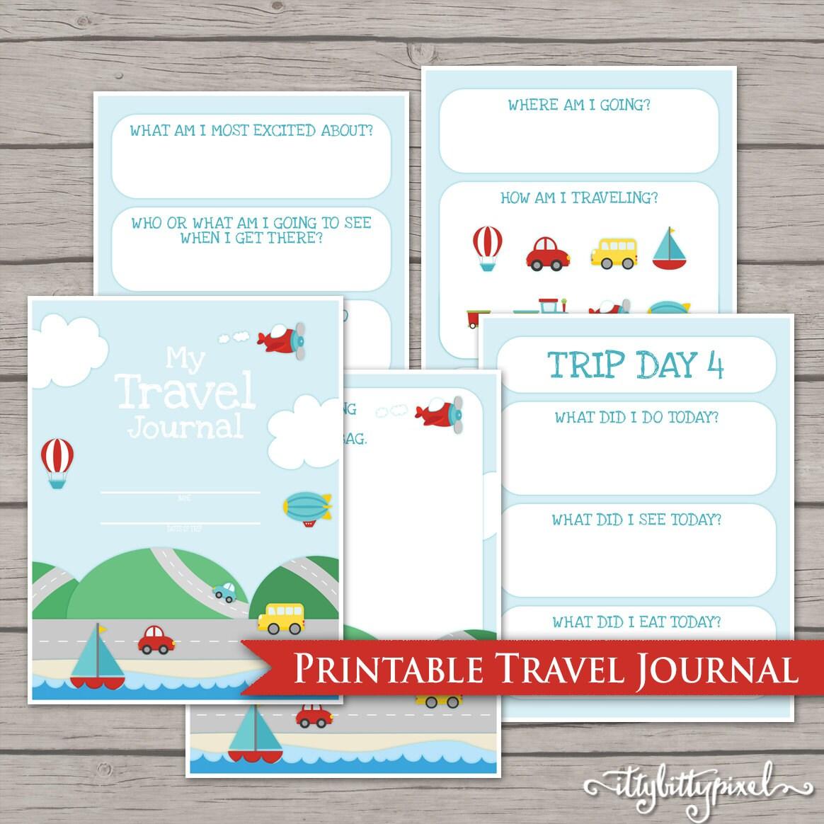 Kids Travel Journal Printable Digital Road By