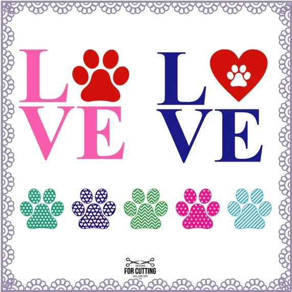 Download Patterned Paw Print Love cut Files SVG DXF EPS. for use in