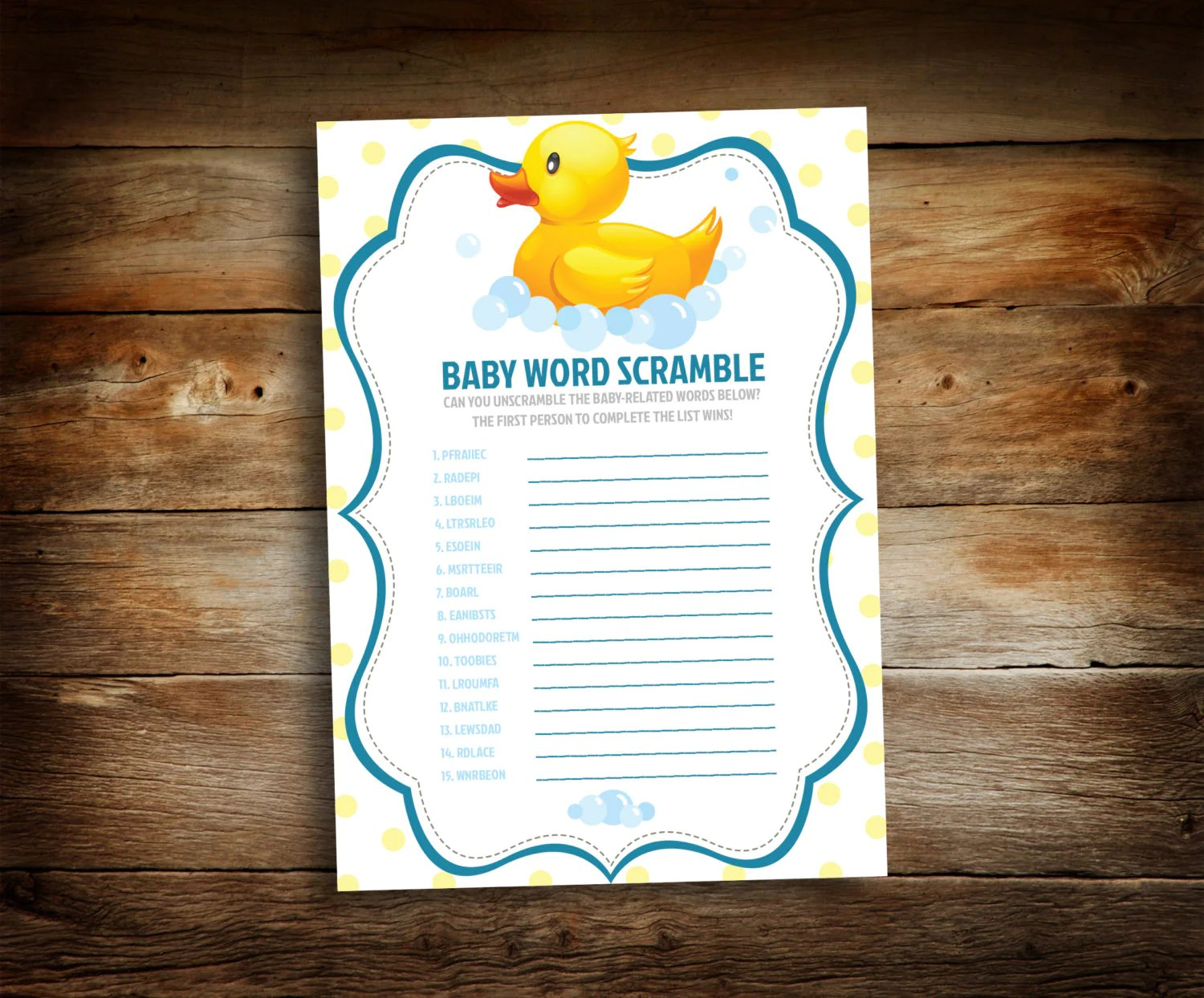 Baby Shower Game Word Scramble Game Unscramble The Words