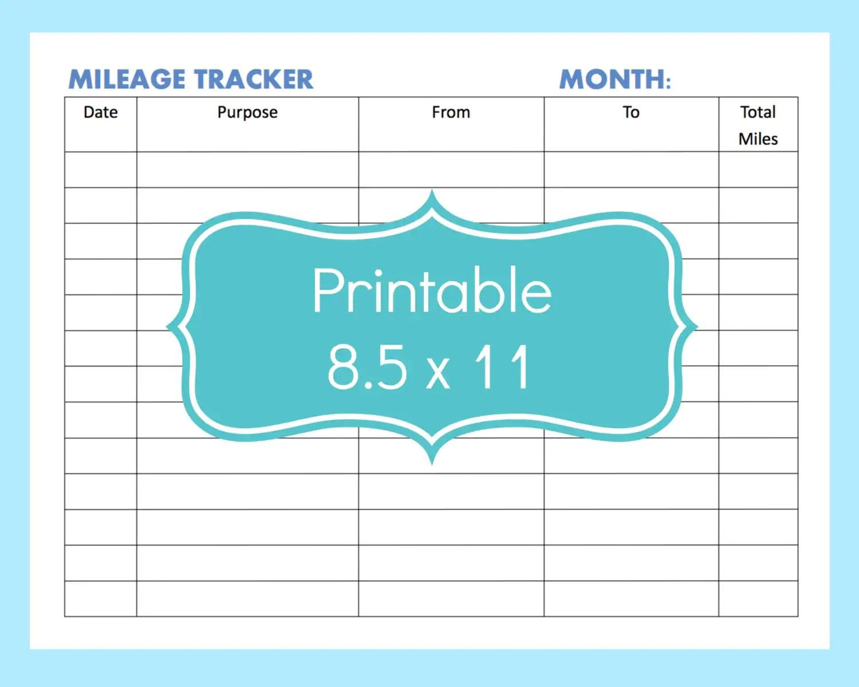 Mileage Tracker Form Printable Printable Mileage Tracker