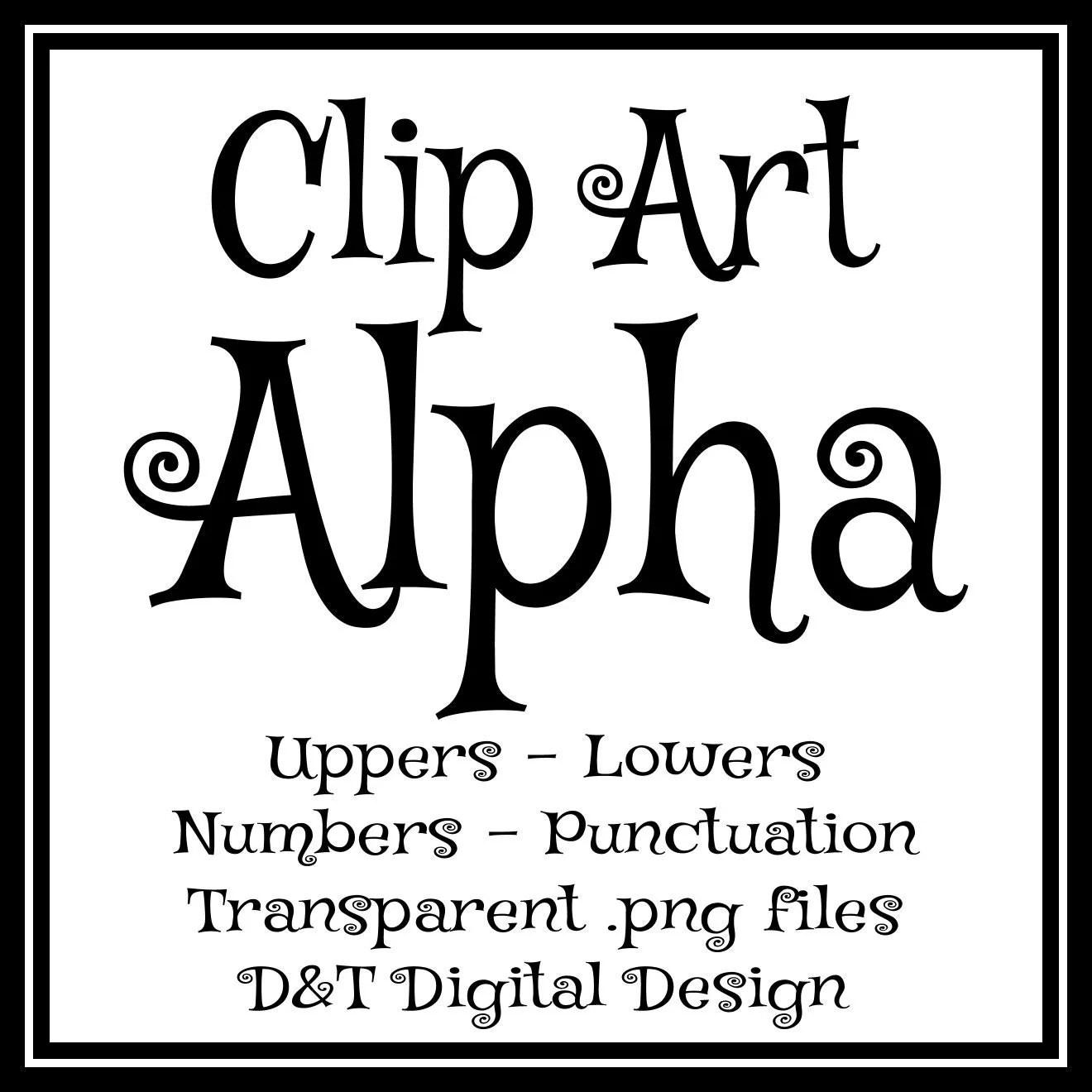Black Whimsical Curly Letters Clip Art Digital Alphabet