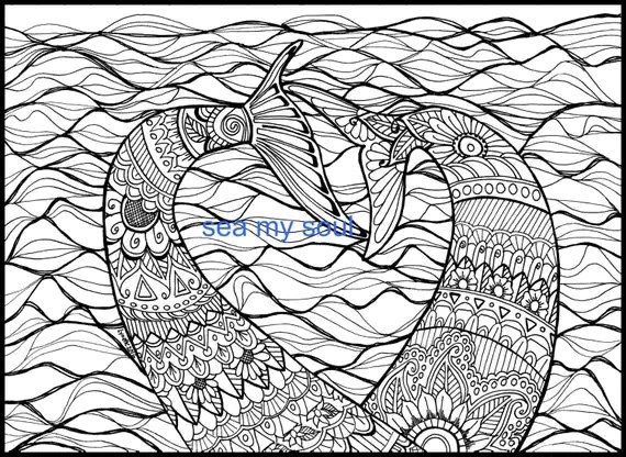 Mermaid Tails Adult Coloring Page Mermaid Art Adult