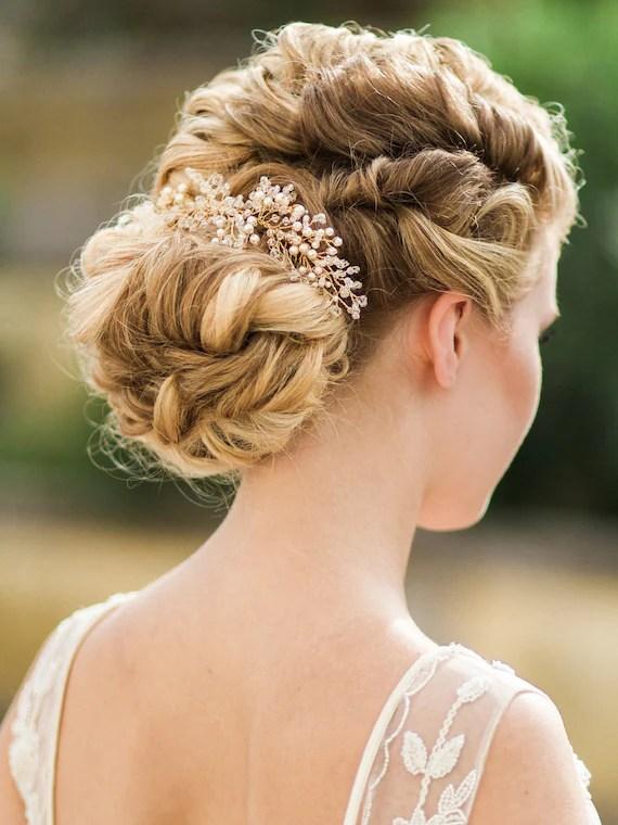 Gold Wedding Headpiece Ivory Flora Hair Piece Crystal Bridal