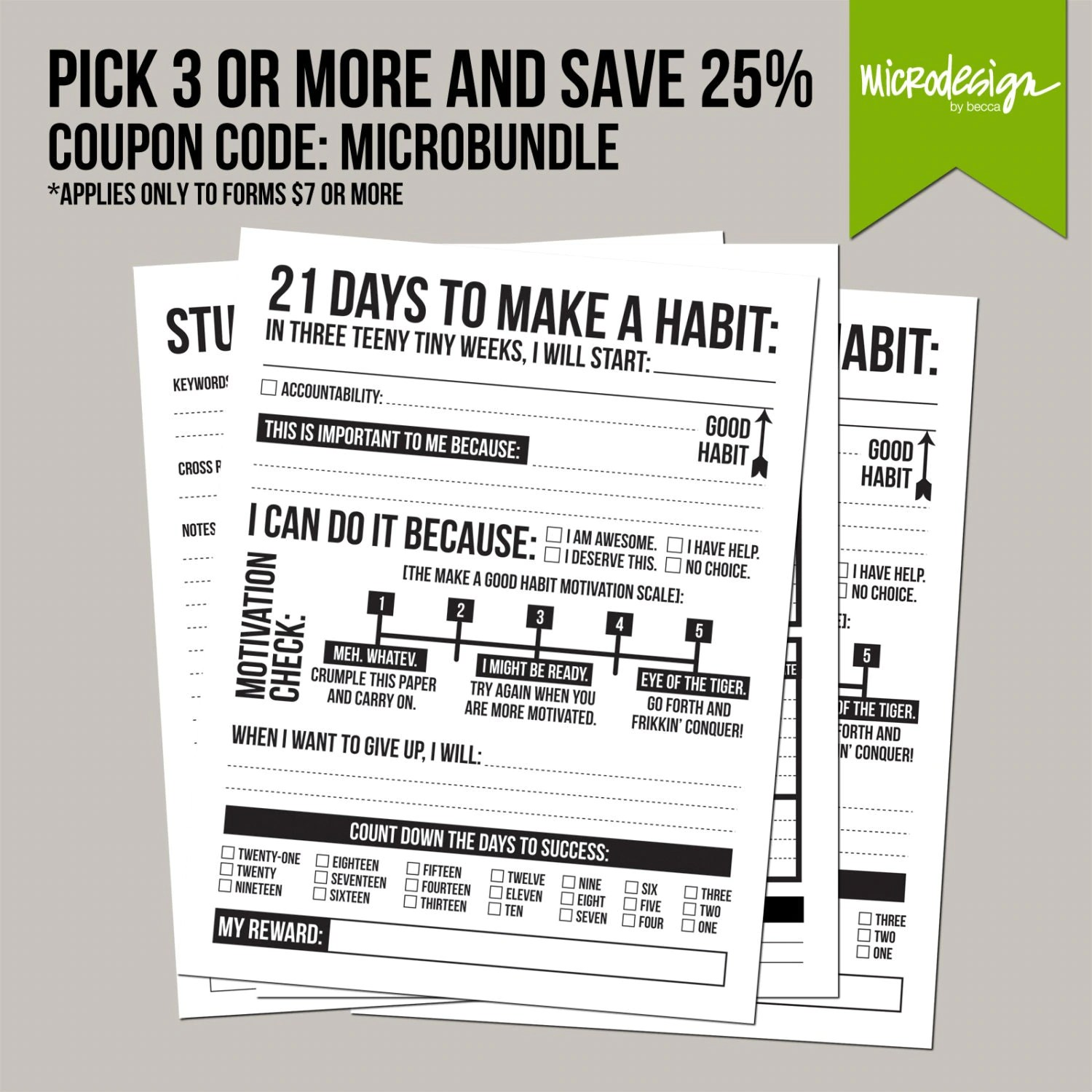21 Days To Make A Good Habit Printable Sheet By