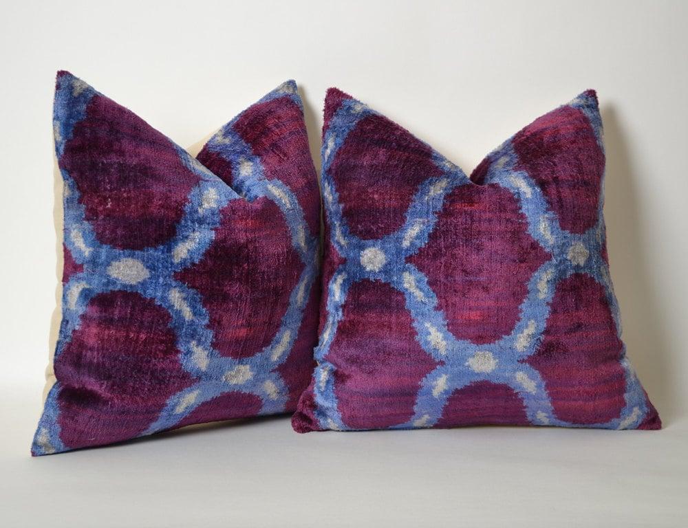 Pillow SET Of 2 Purple Velvet Pillow Covers Uzbek Ikat Purple