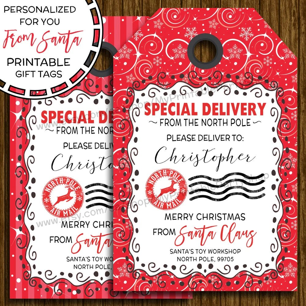 PRINTABLE Christmas Gift Tags From Santa Gift Tags
