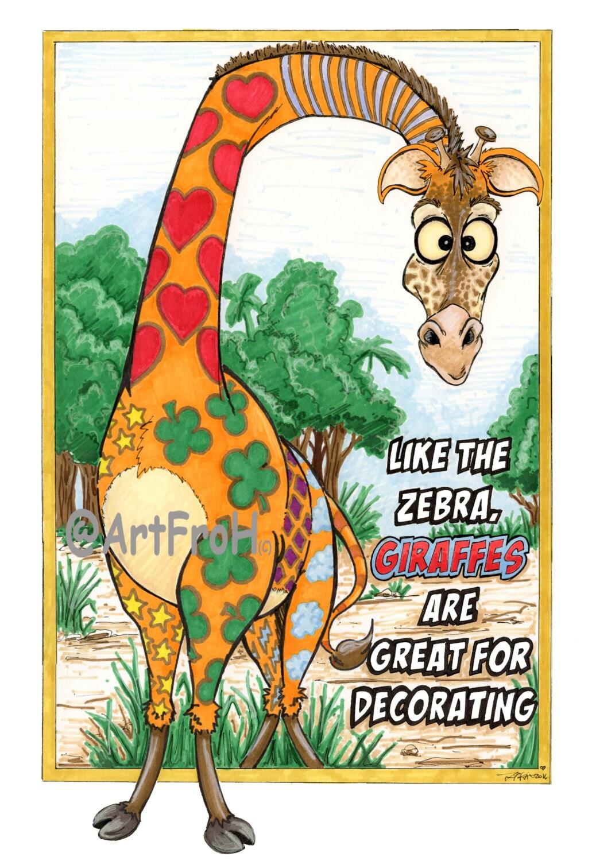 Like The Zebra Giraffes Are Fun To Decorate 11 X 14 Inch