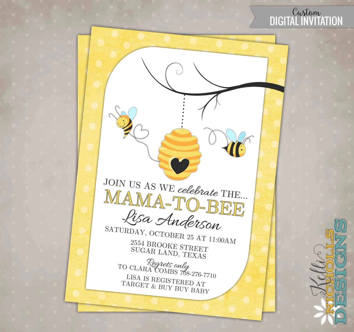 Bumble Bee Baby Shower Invitation Custom Printable Mommy To