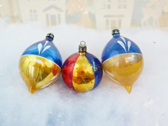 Vintage Poland Christmas Ornaments Blue Gold Red Hand Painted Teardrop Set of 3 Three 1950's