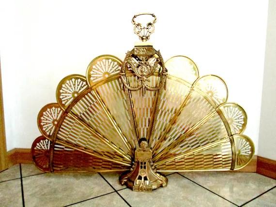 Brass Peacock Fireplace Screen Brass Fan Fireplace Screen