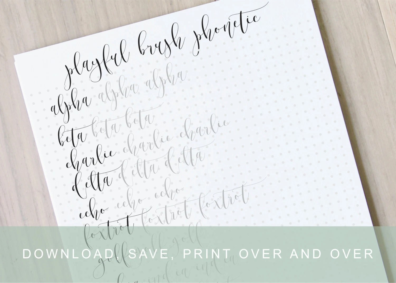 Playful Fancy Brush Phonetic Lettering Worksheet Calligraphy