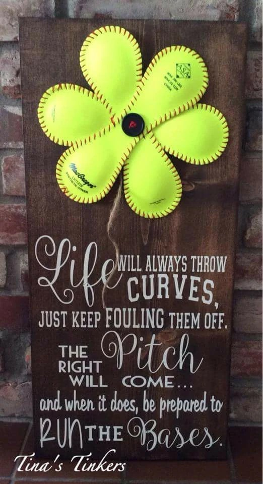 Softball Flower Sign Life Will Always Throw Curves Just Keep