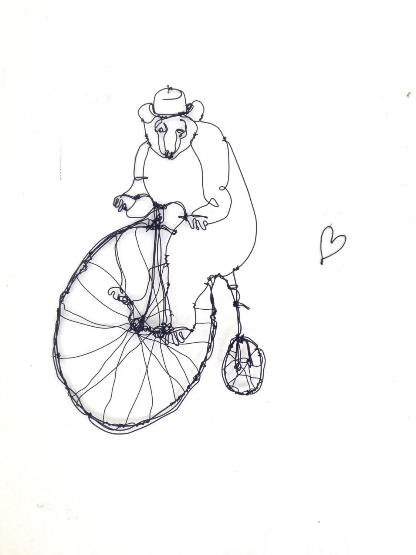 Wire Wall Art Bear Riding Bike Wire Sculpture Baby