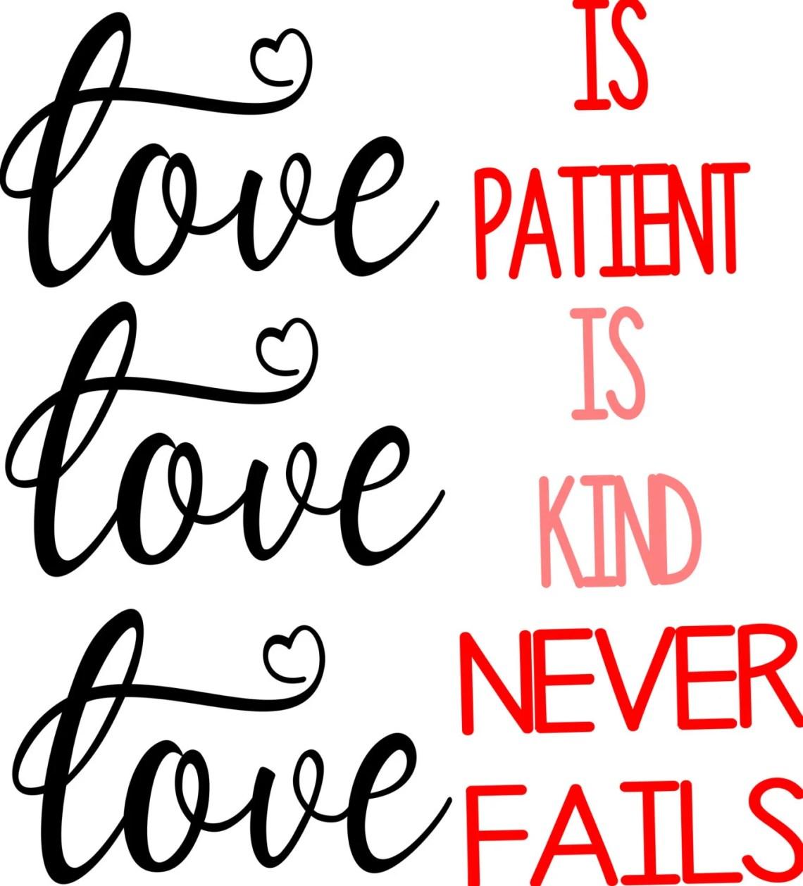Download Love is Patient Cut File SVG by ArtForTheMostPart on Etsy