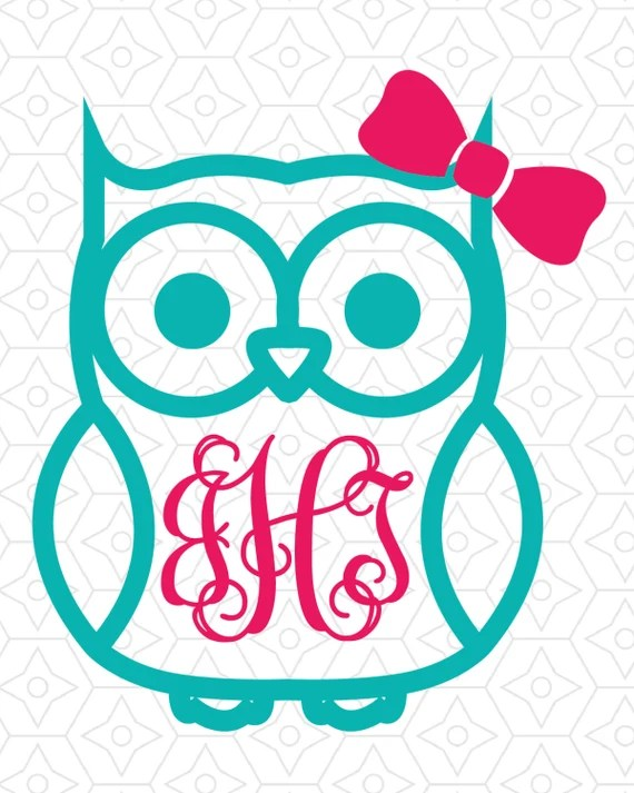 Download Owl with (or without) Bow Monogram Frame Decal Design, SVG ...