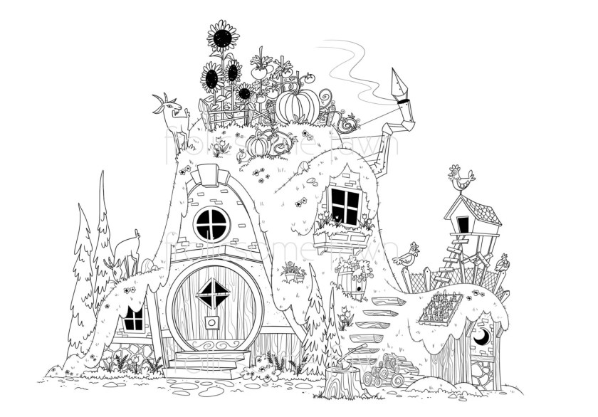 fairy tale coloring page for adults and children