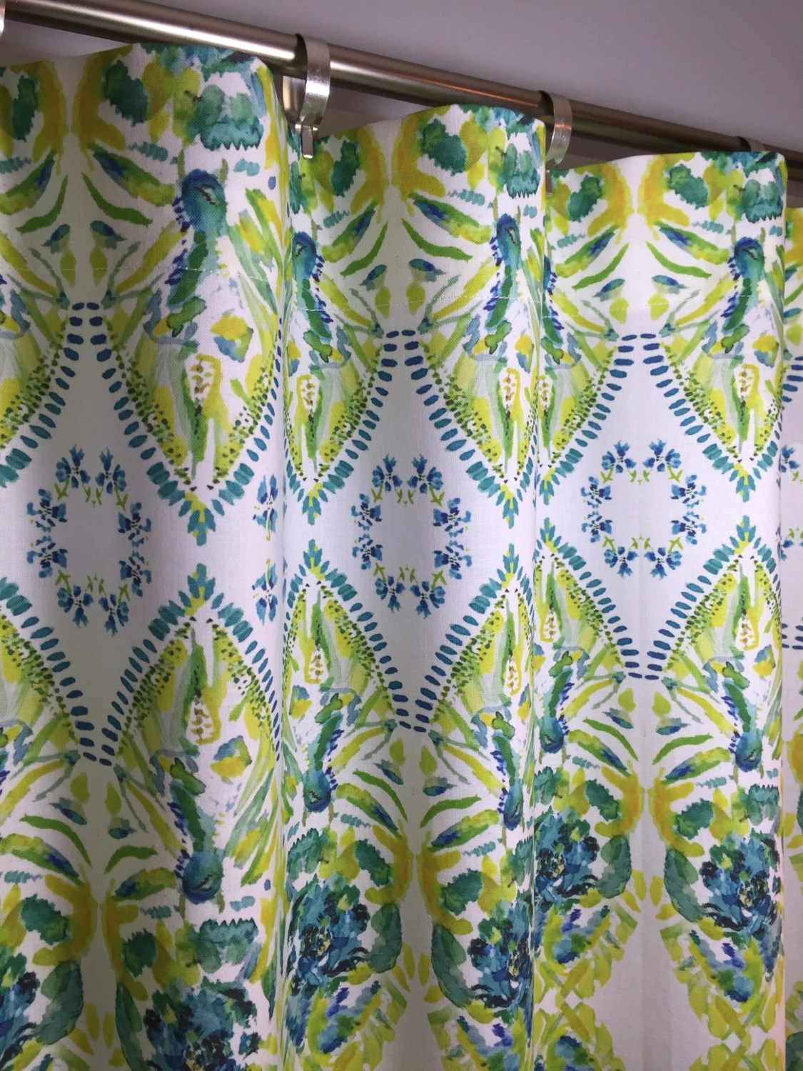 Yellow Turquoise Lime Green Cafe Valances And Curtains