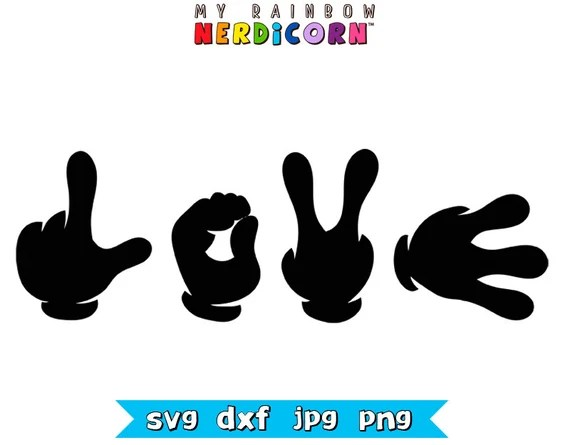 Download Mickey Love hands SVG clipart LOVE Disney by ...