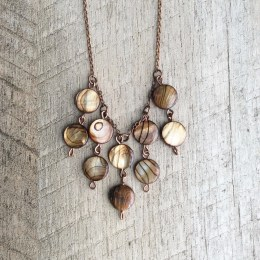 Rustic Striped Shell Pendant Necklace, Beaded Pendant, Pendant Necklace, Long Necklace, Rustic Modern Necklace, Free Shipping U.S.