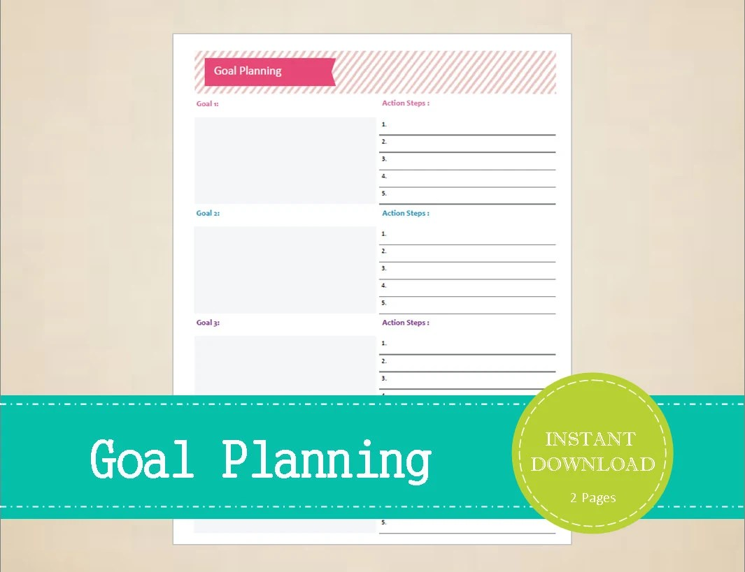 Goal Planning Yearly Goal Planner Monthly Goal Planner