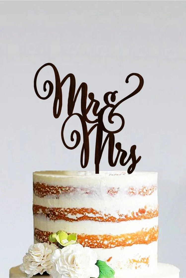 Mr And Mrs Wedding Cake Topper Wooden Cake By
