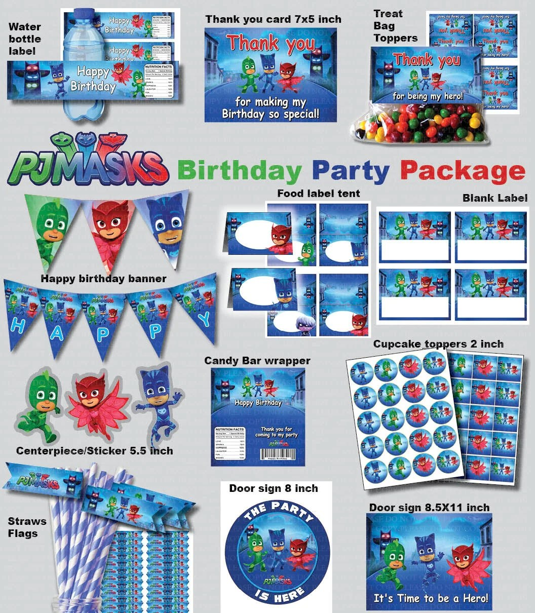 Instant Dl Pj Masks Birthday Party Package Kit Digital