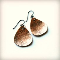 Copper Hammered Teardrop Earrings with Copper Wire, Boho, Rustic, Hippie, Casual, Gift for Her