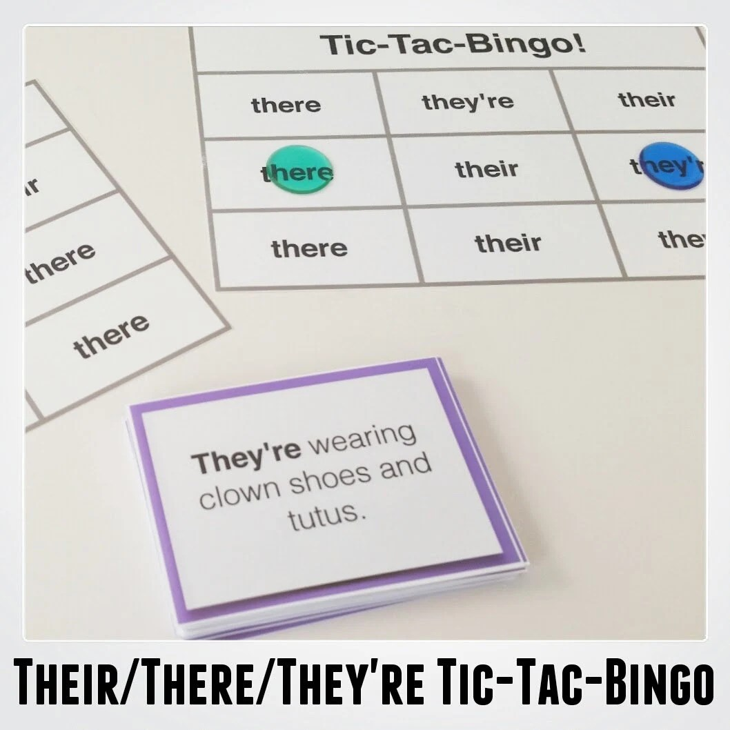 Their There They Re Tic Tac Bingo Language Arts Amp Grammar