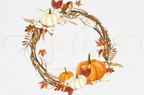 Fall Clip Art Autumn Clipart Watercolor Pumpkin Halloween