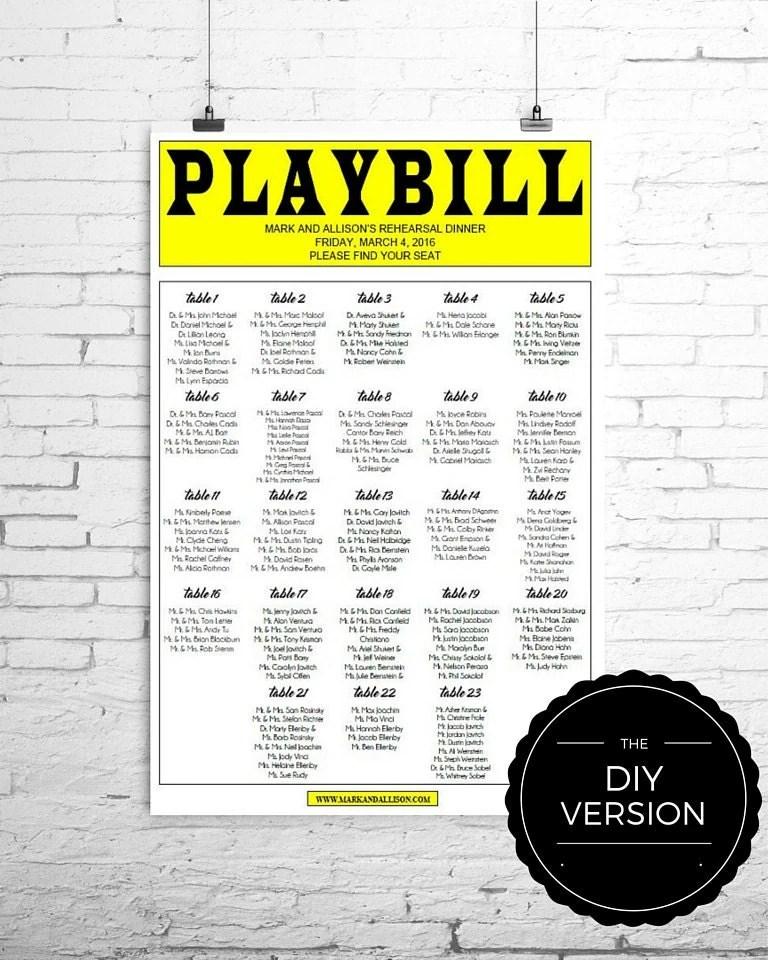 PLAYBILL Broadway Seating Chart TEMPLATE DIY Digital File