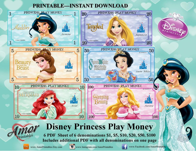 Play Money Disney Princesses Digital Download Printables