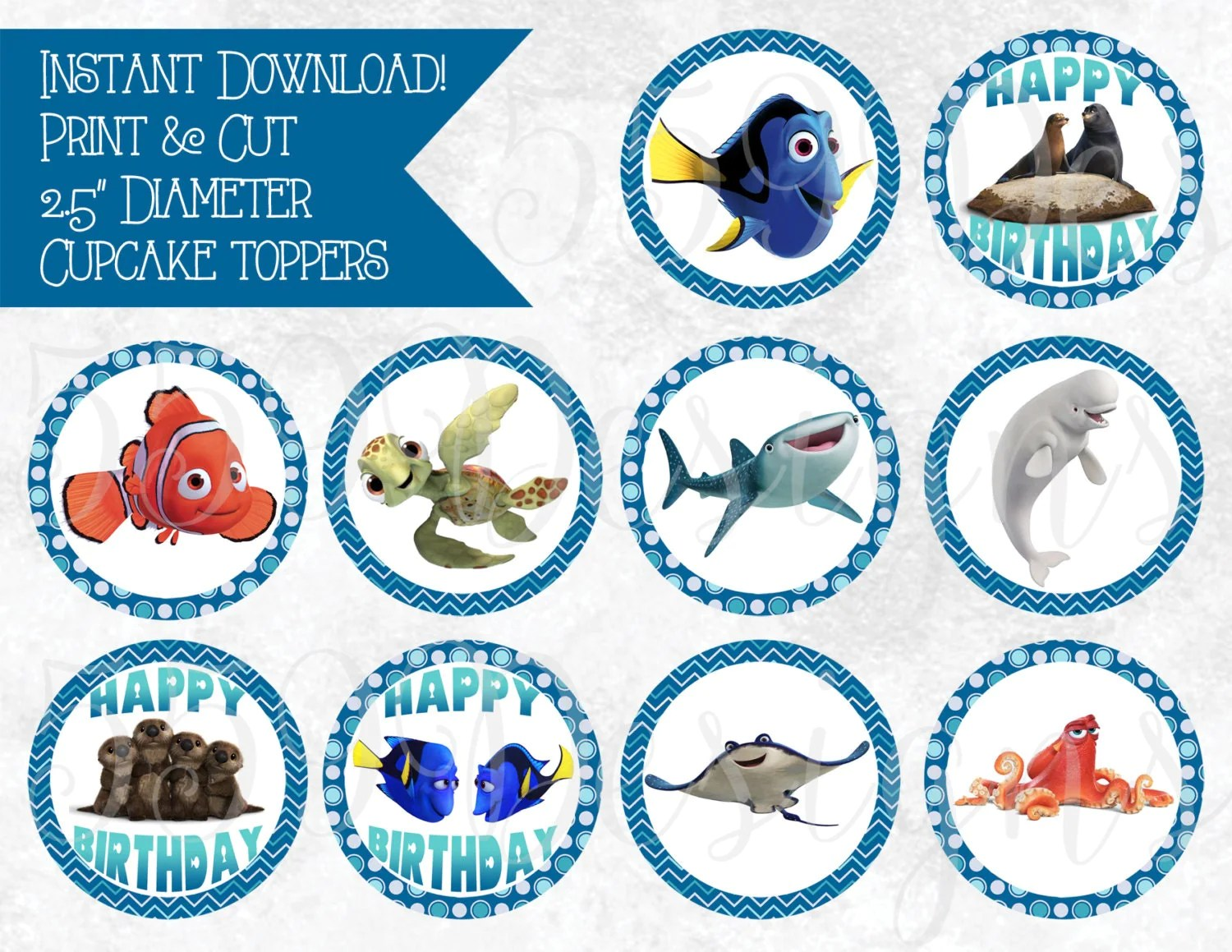 Printable Finding Dory Cupcake Toppers Download Print Cake