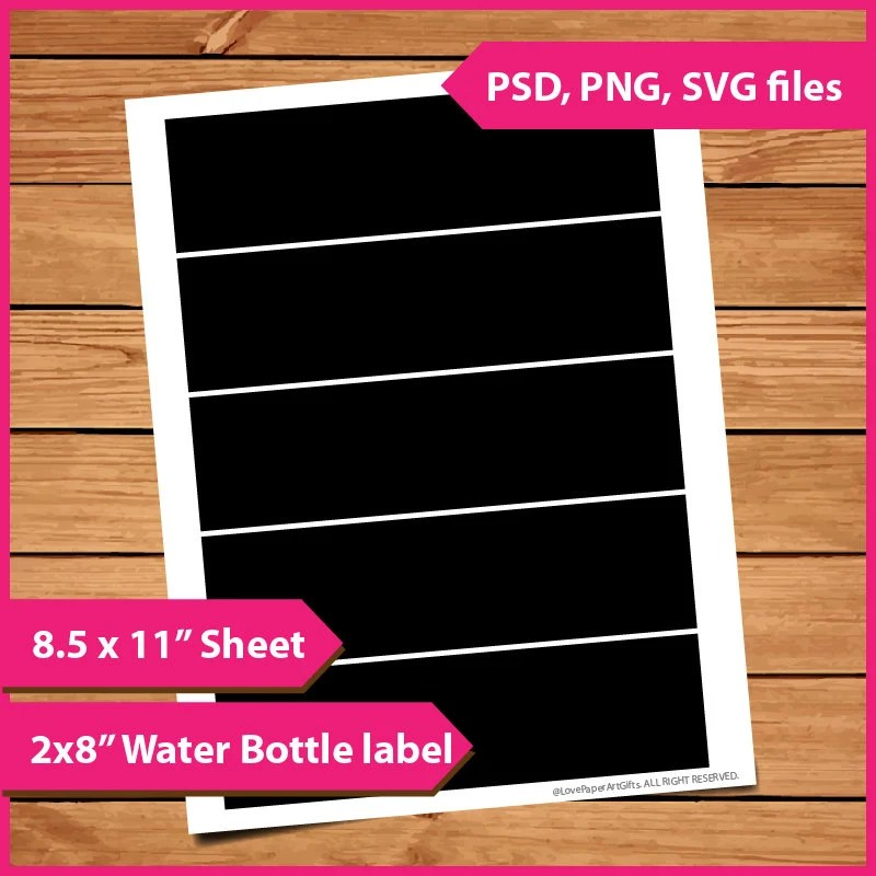 Water Bottle Label Template Instant Download PSD PNG And SVG