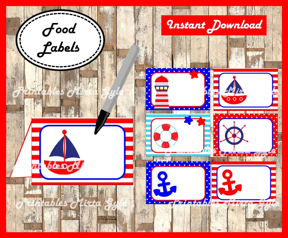 Nautical Food Labels Printable Nautical Party Food Tent Cards