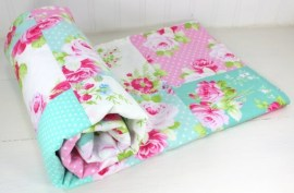 Baby Blanket, Patchwork Blanket, Girl Blanket, Nursery Blanket, Carnation Pink, Mint Green, Jade, Shabby Chic, Nursery Decor, Roses, Flowers