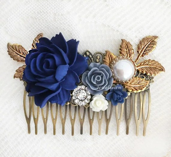 Navy Blue Wedding Hair Accessories Dark Blue Flower Bridal