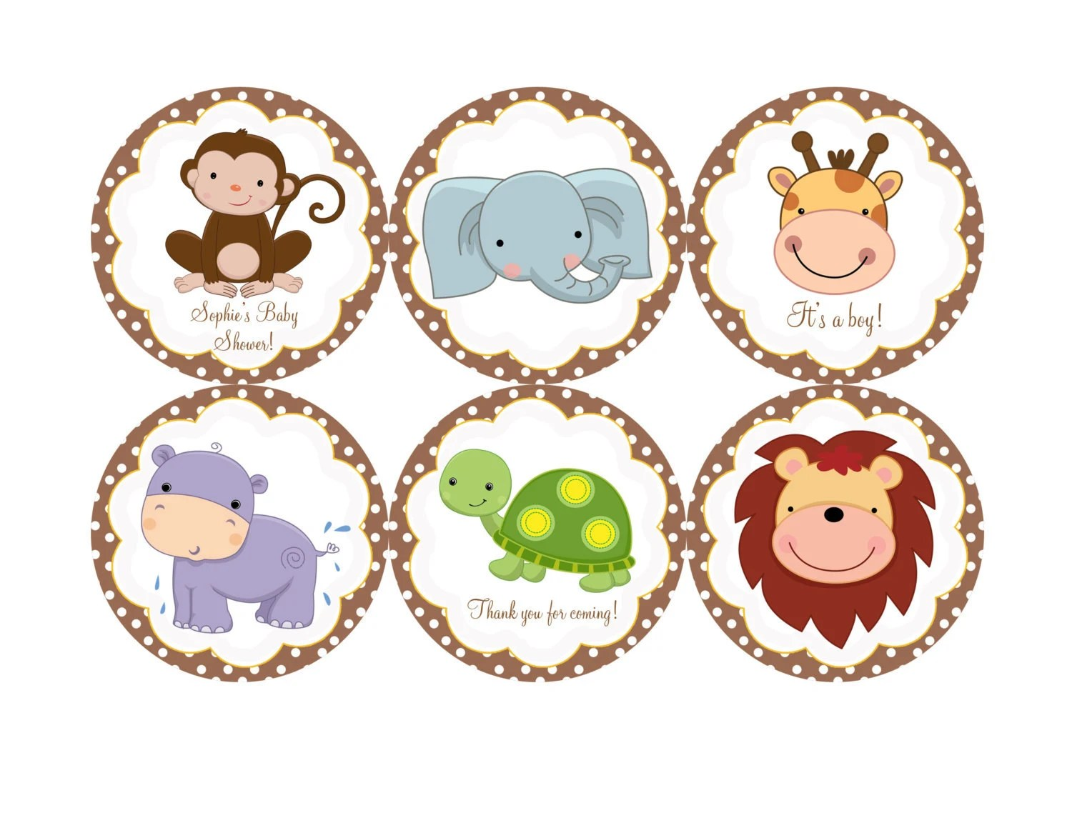 Baby Safari Jungle Animals Edible Cookie Toppers Cupcake Tops