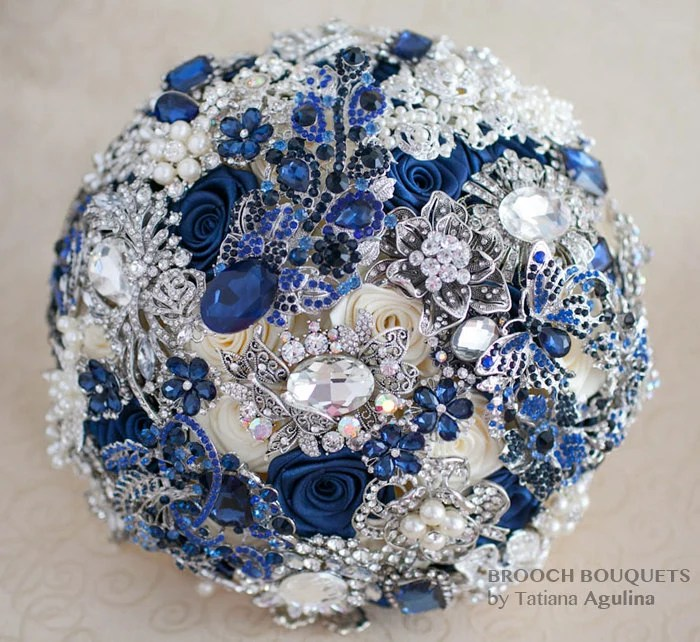Brooch Bouquet Navy Blue And Silver Wedding Brooch Bouquet