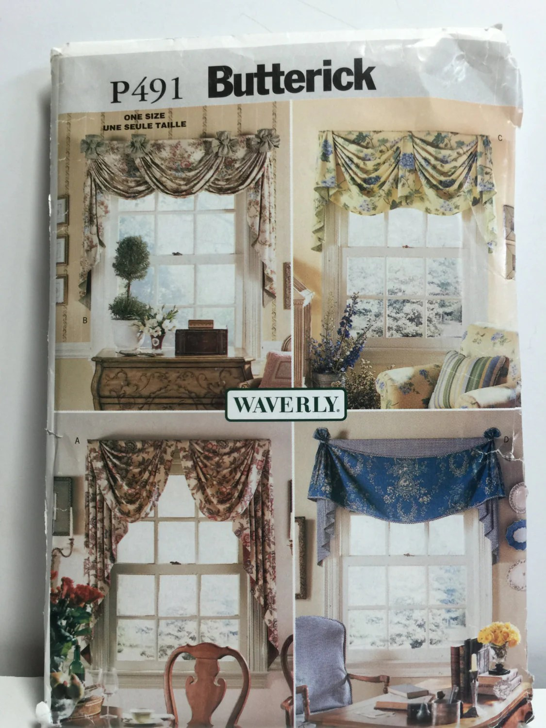 Butterick P491 Waverly Window Treatments Valances Sewing