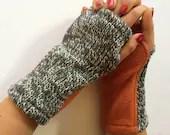 Fingerless Knit Mittens, ...