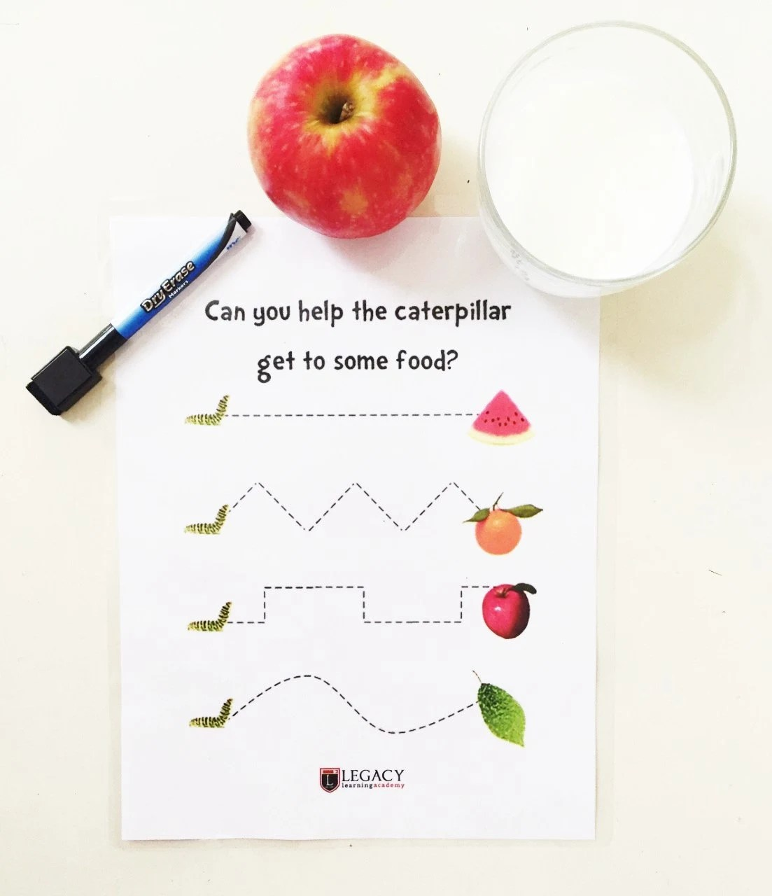 Printable Caterpillar Tracing Game Write On By Legacylearning