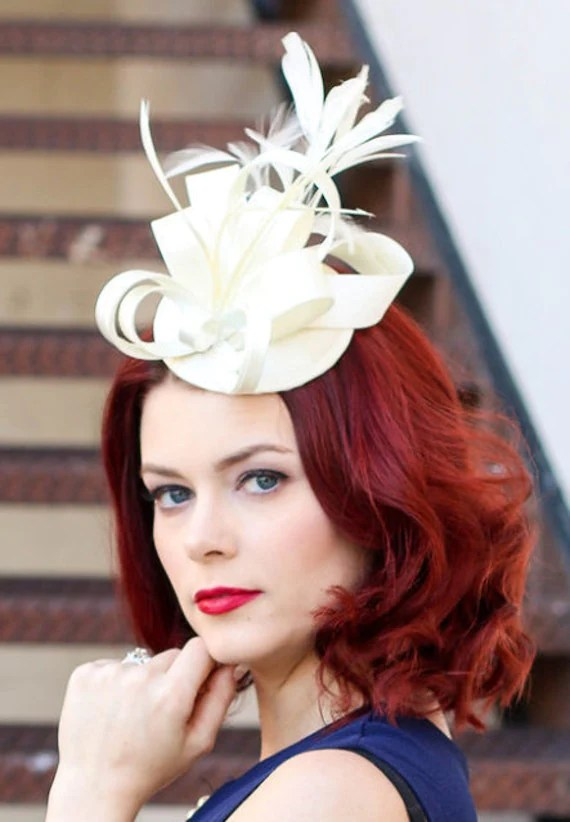 Fascinators Ivory Fascinator Womens Tea Party Hat Church