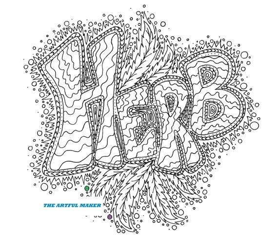 herb adult coloring pagethe artful maker