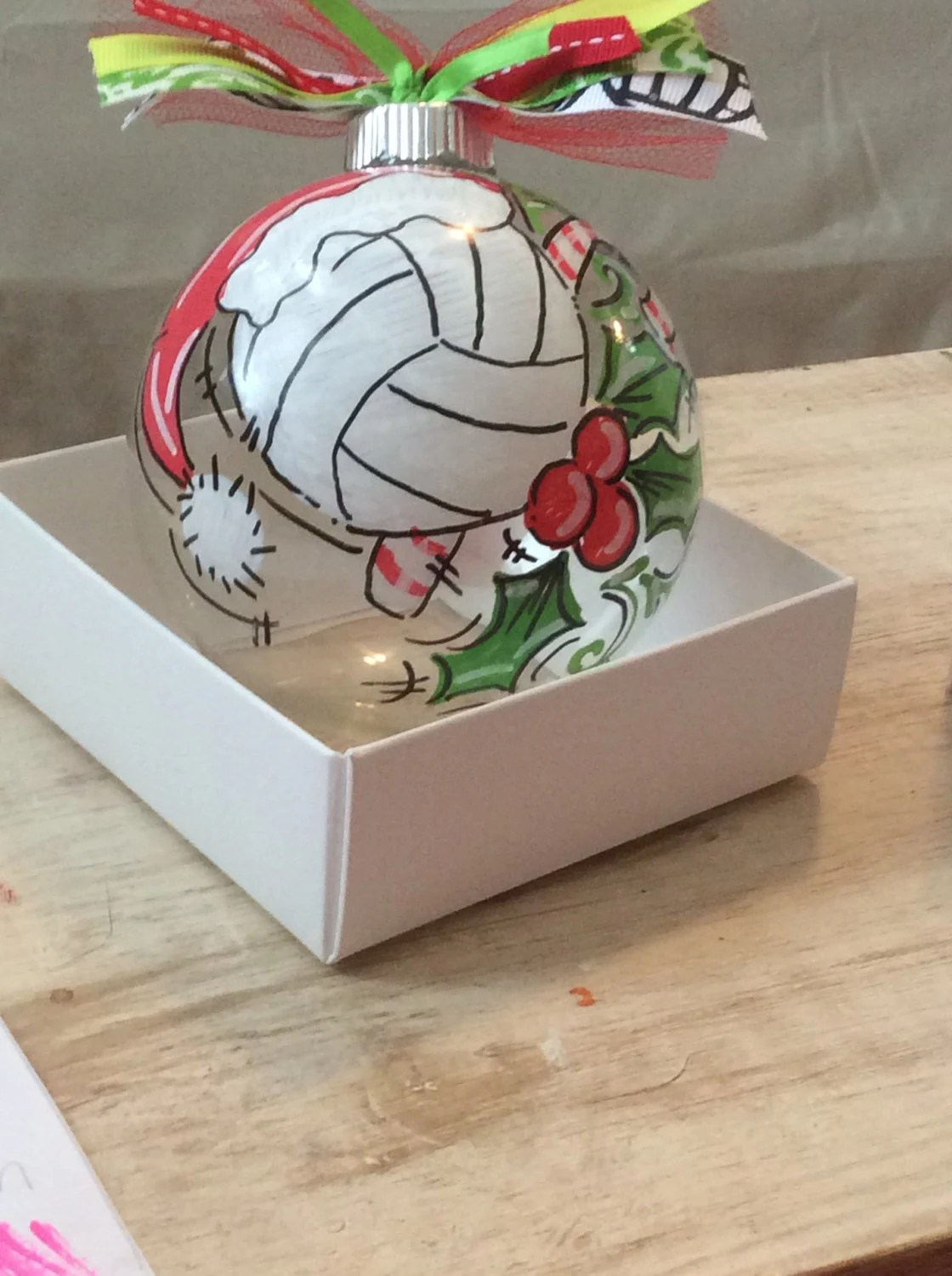 Adorable Hand Painted And Personalized Volleyball Ornament