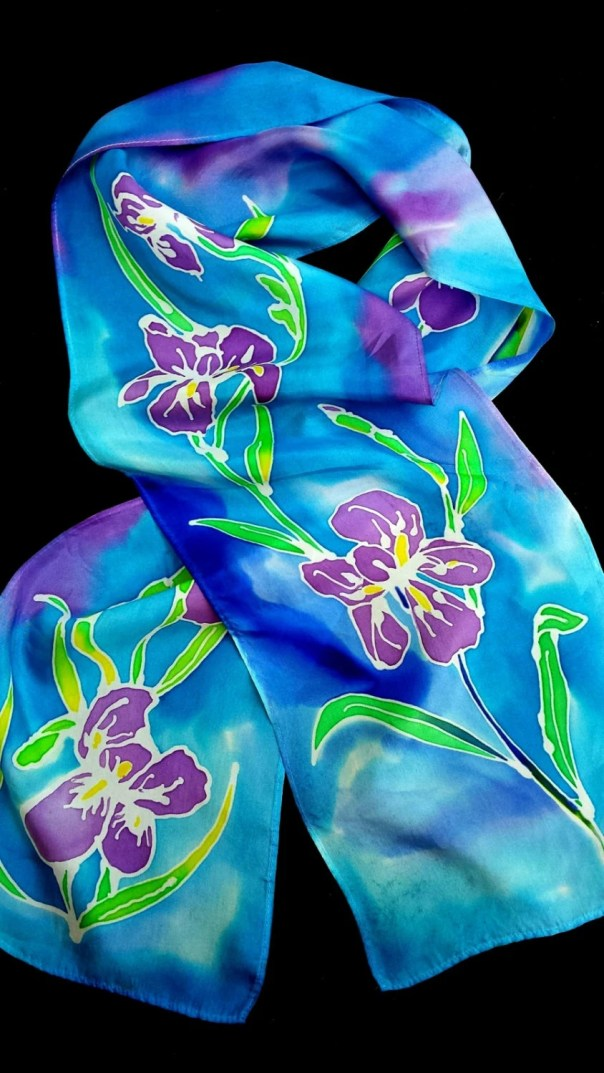 "Irises Silk scarf. 8"" x 54"" custom silk scarf with beautiful purple irises hand drawn by artist M Theresa Brown. Blue and green background"
