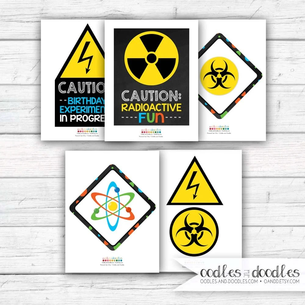 Science Birthday Party Signs Mad Scientist Decorations